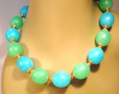 Vintage Necklace Collar Choker Big Bright Beads Chunky Aqua Lime Green Retro Mid Century 60s Art Deco Statement
