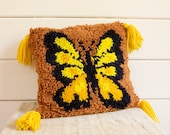 Vintage Butterfly Hooked Yarn Throw Pillow