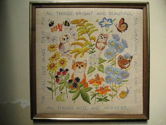 Erica wilson all things bright animal crewel embroidery by