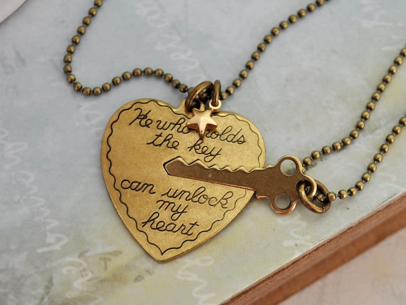 KEY To MY HEART antique brass two necklaces set with solid brass star charm