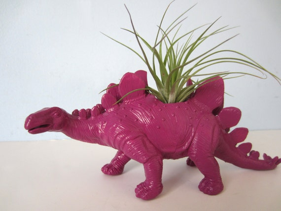 Upcycled Dinosaur Planter - Extra Large Purple Stegosaurus with Air Plant