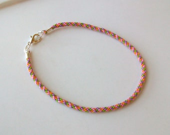 Pink, Green, Orange and Purple Kumihimo Braided Cord Anklet - Ankle Bracelet