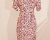 Vintage 1980s Floral Dress - Burgundy and White