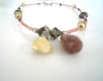 Necklace Raspberry Quartz, Champagne Freshwater Pearl 16""