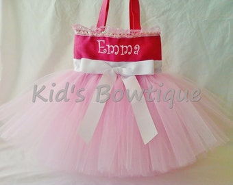 Personalized Pink Beauty and Elegance Tutu Tote Bag - Flower Girl Tutu Bag