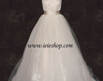 Timeless Victorian Princess Strapless Champagne Lace Ball Gown Wedding Gown