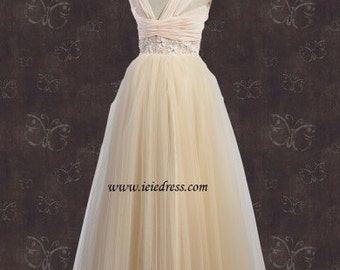 Vintage Style Champagne Cap Sleeves Tulle Wedding Gown Evening Gown