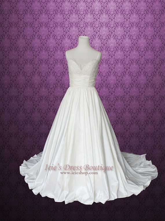 Wedding Dress Thin Lace Straps : Empire wedding dress with thin straps v neck lace