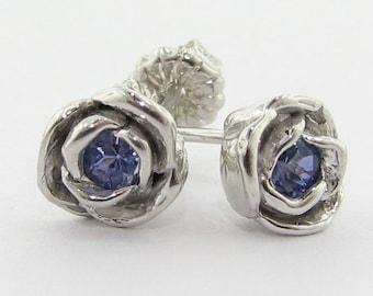 Petite Rose Earrings, Tanzanite