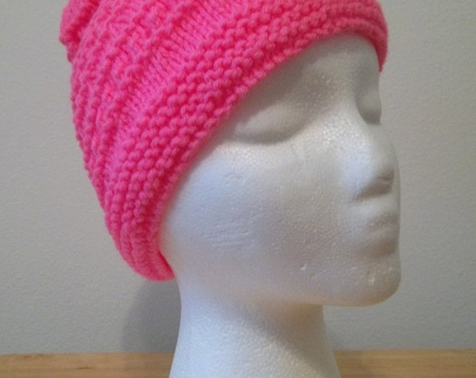 Hat - Hand Knitted Hat in Bright Pink