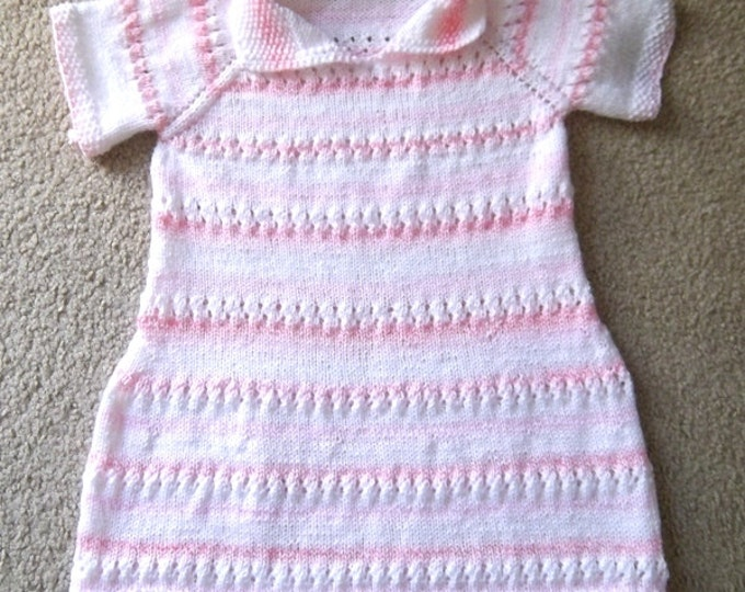 Dress for Girls - Hand Knitted Summer Dress for Girls Size 5/6 in Pink and White - Short Sleeves