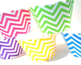 Chevron Cupcake Wrappers Primary Colors