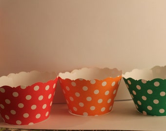 Primary Color Polka Dot Cupcake Wrappers SALE  Red Polka Dots Green Polka Dots