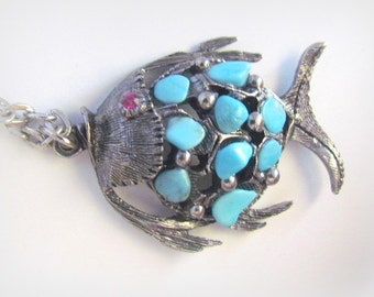 Vintage Chalk Turquoise Nugget Fish Pendant Necklace**On Sale**