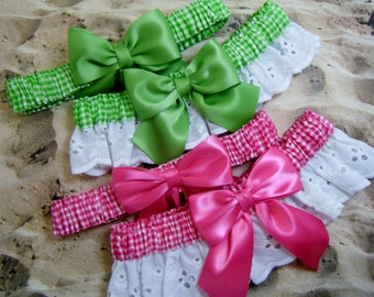Lime Green Hot Pink Your Choice Gingham White Eyelet Lace Wedding Garter Toss Set
