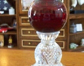 Repurposed Vintage Glass Candle Holder or Bird Feeder