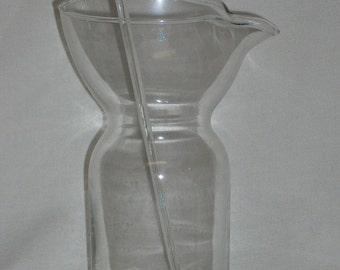 Mid Century Danish Modern Clear Glass Pitcher and Wand Stirrer Vintage Barware