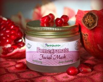 Organic Pomegranate Facial Mask - revitalizing, cleansing, natural, vegan - great for dry sensitive skin