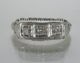 Antique Diamond Wedding Ring - Three Stone Ring