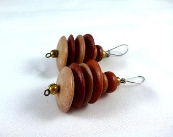Vintage, Wooden Pebble Hanging Earrings : E48