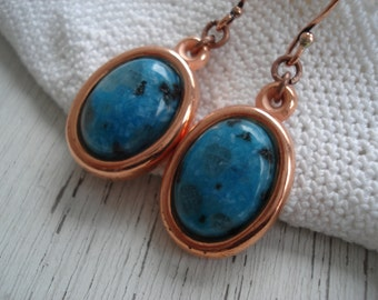 Kiwi Turquoise Gemstone and Copper Dangle Earrings Native Tribal Nature Inspired