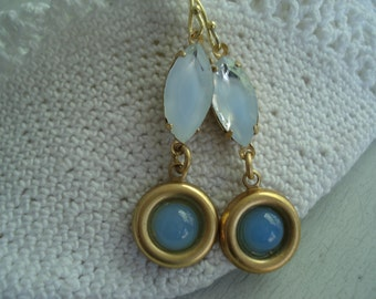 Vintage Faceted Blue Givre and Moonstone Glass Gold Earrings Winter Sky