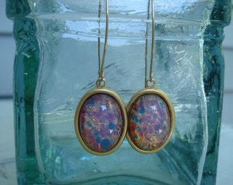 Vintage Pink Fire Opal Glass Gold Dangle Earrings