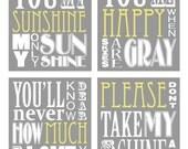 You Are My Sunshine Set (set of 4 prints 8x10 size)
