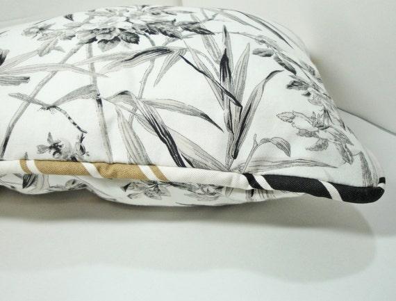"Pillow Black White Tan, nature, flowers, Khaki, 12x22"" lumbar with insert & piping"