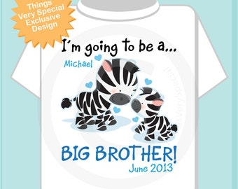 Personalized I'm Going to Be A Big Brother Zebra Shirt or Onesie with name and date with little baby (06042013a)