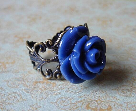 Emma Dawn - Antiqued Brass Adjustable Rose Ring - Vintage Inspired Keepsake Jewelry