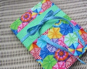 RESERVED for smileysshopping - Umbrellas Fabric Journal Cover - blue and green