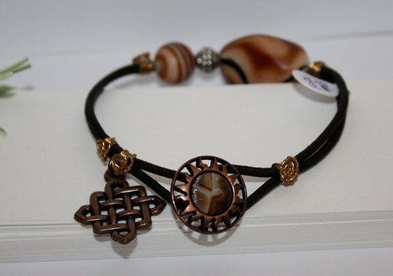 Leather Cord Bracelet Resin Metal Antiqued Copper Wire Wrapped Celtic Charm Silver Woman Brown Earthy Aztec Sun Boho Bohemian Chic