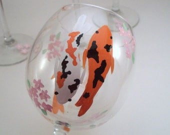 Koi fish and cherry blossoms, hand painted wine glasses, fish wine glasses, koi fish art, painted glassware, set of 2