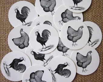 Chicken Tags Round Paper Gift Tags Set of 10