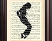 Jackson art, Michael Jackson silhouette on  old sheet music, Michael Jackon print, Decorative arts, collage, wall hangings, home decor