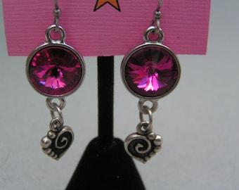 12 mm Fuchsia Swarovski Rivoli Earrings with Spiral Heart Charm