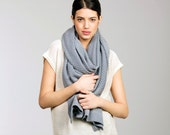 Chunky scarf Over size knitted gray color scarf Ladies Winter Chunky cotton scarf - LittleWhiteDresser