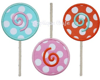 628 Lollipop Trio Machine Embroidery Applique Design