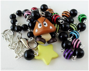 Super Mario Bros, Goomba Necklace, Colorful Rosary Chain in Silver - Gamer, Kandi Kid