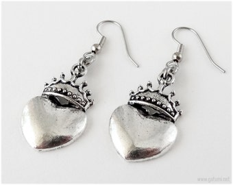 Heart Crown Earrings, Surgical Steel Hooks, Antique Silver Finish - Gothic Lolita, Visual Kei