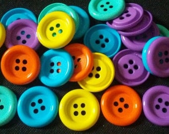 20 pcs - Big buttons - 4 hole - size 33 mm mix color