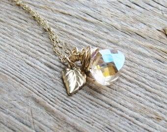 Briolette Leaf Necklace Gold Filled Botanical Jewelry Faceted Glass Jewel Briolette Gold Leaf Nature Inspired Naturalist Minimalist Bridal