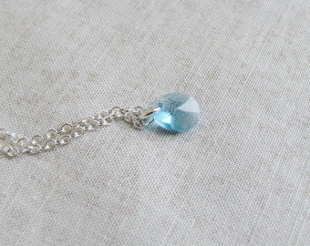 Minimalist Necklace Aqua Crystal Briolette March Birthday Sterling Silver Chain Jewel Simple Modern Delicate Teardrop