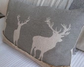 Hand printed muted grey triple stags cushion cover