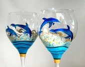 Blue Dolphins Wine Glasses Hand Painted Glassware Made To Order Goblets
