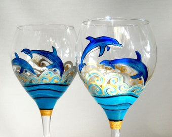Blue Dolphin Wine Glasses Hand Painted Glassware Art on Glass Ocean Decor Tabletop Accessory