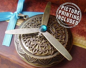 Large Photo Locket Pendant with Propellers - Bronze - The Aviator's Wife - Includes Picture Printing Service