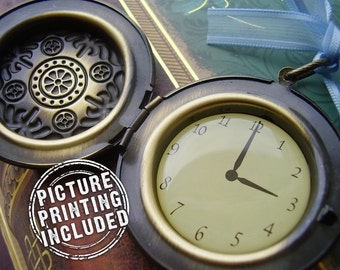 Extra Large Pocket Watch Photo Locket Pendant - Bronze - 3 O'clock - Includes Picture Printing Service