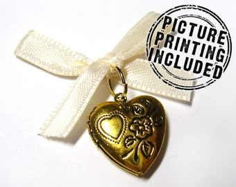 Wedding Day Memorial Locket Charm - Goldtone Heart - Includes Picture Printing Service - Silver Available